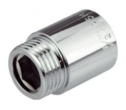 Przedłużka z mosiądzu z powłoką chrom, nakrętno-wkrętna PN10 1/2x20mm
