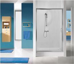 Sanplast Drzwi przesuwne D2/TX5b-120 profil srebrny błyszczący szkło czyste