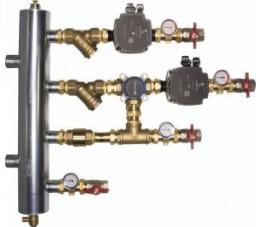 Afriso zestaw mieszający ze sprzęgłem hydraulicznym BPS 906, człon bez mieszania i z zaworem obrotowym ARV 362, pompy Grundfos UPM3