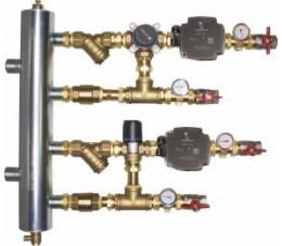 AFRISO Zestaw mieszający ze sprzęgłem hydraulicznym BPS, człon z zaworem obrotowym ARV 384 i termostatycznym ATM 561