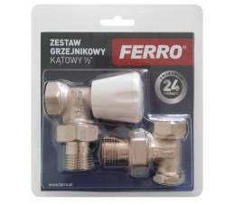 """FERRO zestaw grzejnikowy kątowy 1/2"""" ZGB02"""