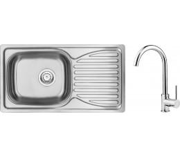 DEANTE Doppio zlewozmywak stalowy 1-komorowy z ociekaczem + bateria zlewozmywakowa stojąca chrom