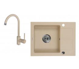 DEANTE Zorba zlewozmywak 1-komorowy z krótkim ociekaczem + bateria stojąca, kolor: piaskowy  ZQZA711A
