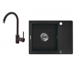 DEANTE Zorba zlewozmywak 1-komorowy z krótkim ociekaczem + bateria stojąca, grafit  ZQZA211A