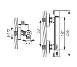 FERRO Trinity bateria natryskowa ścienna termostatyczna, chrom