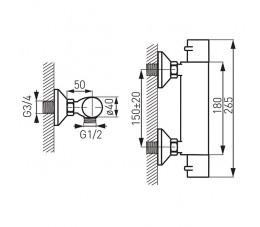 FERRO Varese bateria natryskowa ścienna termostatyczna, chrom