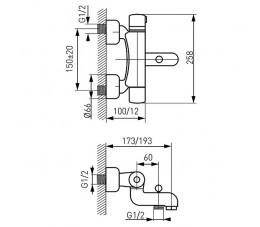 FERRO bateria termostatyczna wannowa ścienna, chrom