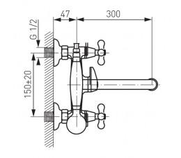 FERRO Retro bateria wannowa ścienna z ruchomą wylewką, chrom