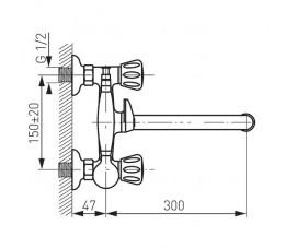 FERRO Standard bateria wannowa ścienna z ruchomą wylewką, chrom
