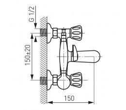 FERRO Standard bateria wannowa ze słuchawką i wężem, chrom