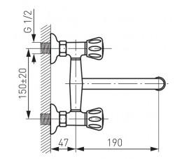 FERRO Standard bateria zlewozmywakowa ścienna, chrom