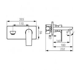 Ferro Algeo Square bateria podtynkowa umywalkowa, z wylewką 18 cm