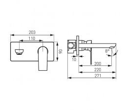 Ferro Algeo Square bateria podtynkowa umywalkowa, z wylewką 22 cm