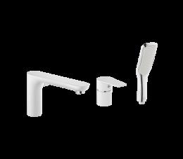 Invena Dokos bateria wannowa 3-otworowa, kolor: biały/chrom