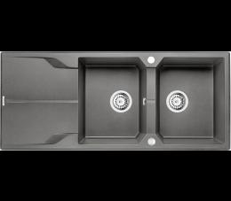 Deante zlewozmywak 2-komorowy z ociekaczem Andante, kolor: antracyt