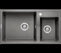 Deante zlewozmywak 2-komorowy bez ociekacza Eridan, kolor: antracyt