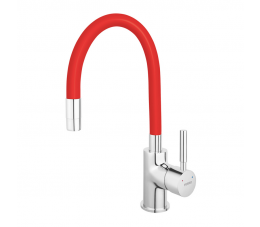 Ferro Zumba - bateria zlewozmywakowa stojąca z elastyczną wylewką, kolor: czerwony