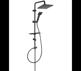 Ferro Squerto Lux Black - zestaw natryskowy przesuwny z deszczownią, kolor: czarny