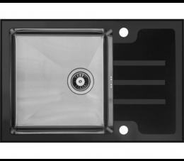 Laveo Kongo zlewozmywak stalowy 1 komorowy z ociekaczem, kolor: czarny