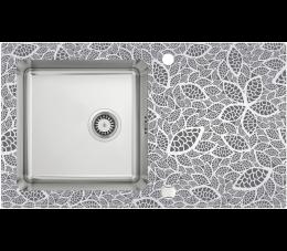 Deante Pallas zlewozmywak stalowo- szklany 1-komorowy z grafiką, satyna