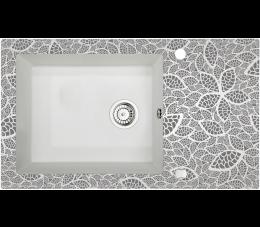Deante Capella zlewozmywak szklano - granitowy 1- komorowy z ociekaczem, alabaster