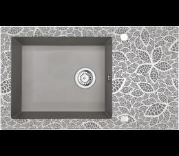 Deante Capella zlewozmywak szklano - granitowy 1- komorowy z ociekaczem, szary metalik