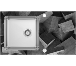 Deante Pallas zlewozmywak stalowo- szklany z grafiką 1- komorowy z ociekaczem, satyna