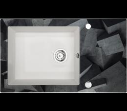 Deante Capella zlewozmywak szklano- granitowy 1- komorowy z ociekaczem, alabaster