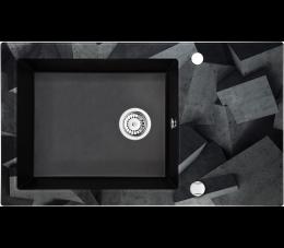 Deante Capella zlewozmywak szklano- granitowy 1- komorowy z ociekaczem, grafit metalik