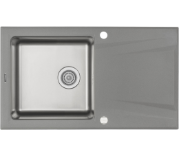 Deante Prime zlewozmywak granitowo-stalowy 1-komorowy z ociekaczem, szary metalik