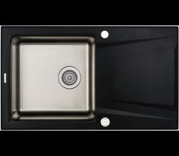 Deante Prime zlewozmywak granitowo-stalowy 1-komorowy z ociekaczem, grafit metalik