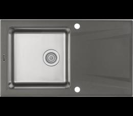 Deante Prime zlewozmywak granitowo-stalowy 1-komorowy z ociekaczem, antracyt