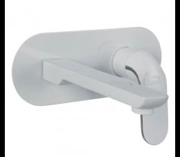 Laveo Zorita bateria umywalkowa podtynkowa z korkiem, biała/chrom