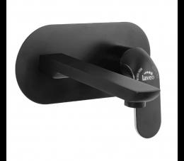 Laveo Zorita bateria umywalkowa podtynkowa z korkiem, czarna/chrom