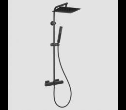 Invena Svart deszczownia z baterią termostatyczną, kolor: czarny