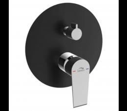 Laveo Largo bateria natryskowa podtynkowa z przełącznikiem, chrom/ czarny