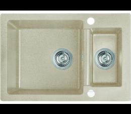 Laveo Celia zlewozmywak 1,5-komorowy bez ociekacza, beżowy