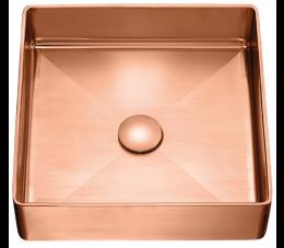 Laveo Pola umywalka stalowa nablatowa z korkiem klik-klak, różowe złoto
