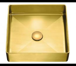 Laveo Pola umywalka stalowa nablatowa z korkiem klik-klak, złota