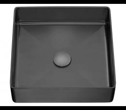 Laveo Pola umywalka stalowa nablatowa z korkiem klik-klak, czarna
