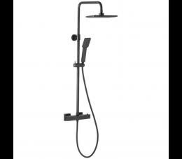 KFA Logon Black deszczownia z baterią termostatyczna natryskową, czarna