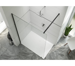 Sanplast kabina typu walk-in PIII/ALTIIa-150-S profile: czarne matowe, szyba: grafit