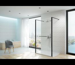 Sanplast kabina walk-in PII/ALTIIa-140-S profile: czarne matowe, szyba transparentna