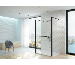 Sanplast kabina walk-in PII/ALTIIa-160-S profile: czarne matowe, szyba transparentna