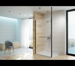 Sanplast kabina walk-in PI/ALTIIa-120 profile: czarne matowe, szyba: transparentna