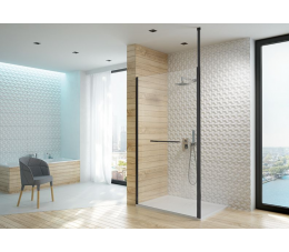 Sanplast kabina walk-in PI/ALTIIa-140 profile: czarne matowe, szyba: transparentna