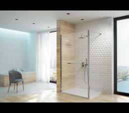 Sanplast kabina walk-in PI/ALTIIa-90 profile: srebrne błyszczące, szyba: grafit