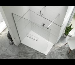 Sanplast kabina walk-in PT/ALTIIa-130 profie: srebrne błyszczące, szyba: transparentna