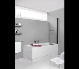 Sanplast kabina nawannowa przyścienna KW/PRIII 75 cm, profile: czarne matowe, szyba: transparentna