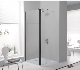 Sanplast kabina Walk-In z elementem ruchomym 100 cm, profile: czarne matowe, szyba: sitodruk W18